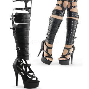 Shoes - High Heel Platform Gladiator Over-the-Knee Boots